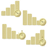 Coins and clock. Stock Image