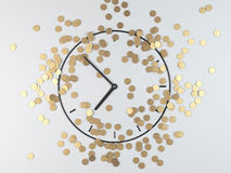 Coins and clock Stock Photography