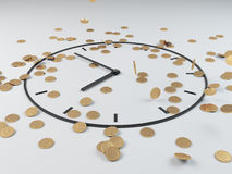 Coins and clock Royalty Free Stock Photo