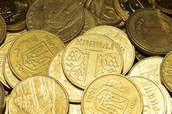 Coins close up. Wallpaper, Ukrainian money, hryvnia Royalty Free Stock Image