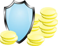 Coins closed shield, money protection, isolated, vector. Coins closed shield, money protection, isolated vector Royalty Free Stock Photos