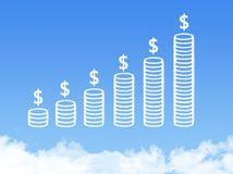 Coins cloud shape. On blue sky royalty free stock photo