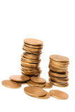 Coins coin. Money towers in white bacground stock photography