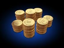 Coins coin money. Euro on blue black gradient vector illustration