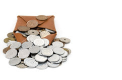 Coins and coin purse Royalty Free Stock Photo