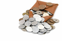Coins and coin purse Royalty Free Stock Image