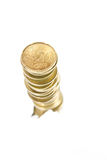 Coins. Coin stacks on a white background Royalty Free Stock Images