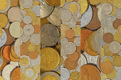 Coins collage.Different coins as background. Stock Images