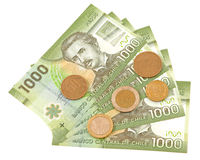 Coins and colorful bills. Coins and colorful bills of Chile Stock Image