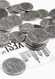 Coins concept. Coins and blank for customers Royalty Free Stock Image
