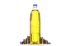 Coins and cooking oil vector illustration