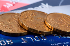 Coins and credit cards. Stock Photo