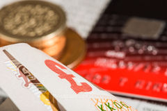 Coins, credit cards and british pounds on newspaper Royalty Free Stock Image