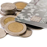 Coins and credit cards Royalty Free Stock Photo