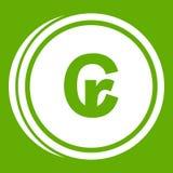 Coins cruzeiro icon green. Coins cruzeiro icon white isolated on green background. Vector illustration Royalty Free Stock Photo