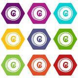 Coins cruzeiro icon set color hexahedron. Coins cruzeiro icon set many color hexahedron isolated on white vector illustration Stock Images
