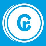 Coins cruzeiro icon white. Isolated on blue background vector illustration Stock Images