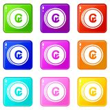 Coins cruzeiro icons 9 set. Coins cruzeiro icons of 9 color set isolated vector illustration Stock Images