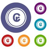 Coins cruzeiro icons set. In flat circle reb, blue and green color for web Royalty Free Stock Image