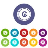 Coins cruzeiro set icons Royalty Free Stock Images
