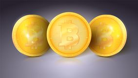 Coins of currency Bitcoin with glare and reflections. Golden money of bitcoin. Virtual money of the future, icon of. Digital crypto currency Royalty Free Stock Images