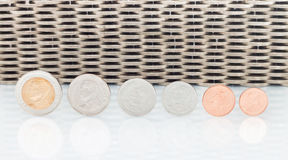 Coins Currency, Coins stacked on each other in different positions. Money concept Royalty Free Stock Photography