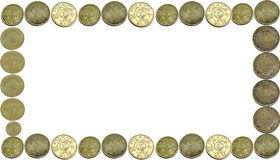 Coins currency frame Royalty Free Stock Photography