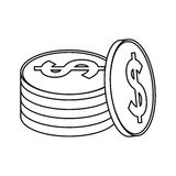 Coins currency money stack thin line Stock Photo
