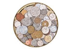 Coins currency from multiple countries Royalty Free Stock Photo