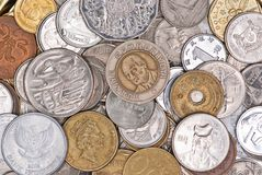 Coins currency from multiple countries Royalty Free Stock Photography