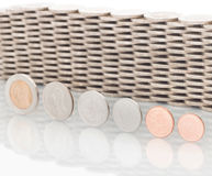 Coins, Currency. Coins Currency, Coins stacked on each other in different positions. Money concept Stock Images