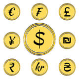 Coins with Currency Symbols Stock Photo
