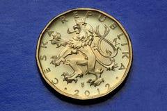 Coins of the Czech Republic. Bohemian heraldic lion depicted in the Czech twenty koruna coin Stock Photography