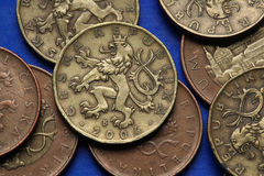 Coins of the Czech Republic. Bohemian heraldic lion depicted in Czech twenty korunas coins Royalty Free Stock Images