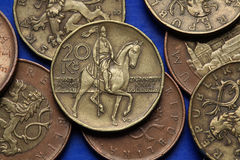 Coins of the Czech Republic. Monument to Saint Wenceslas in Wenceslas Square in Prague depicted in Czech twenty korunas coin Royalty Free Stock Photos