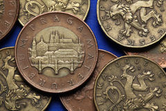Coins of the Czech Republic. View of Prague with the Charles Bridge and Prague Castle depicted in Czech fifty korunas coin Stock Images