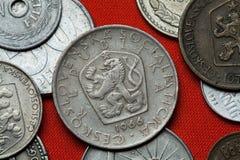 Coins of the Czechoslovak Socialist Republic. Coins of Czechoslovakia. Coat of arms of the Czechoslovak Socialist Republic depicted in the Czechoslovak 5 koruna royalty free stock photography