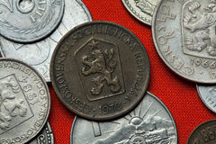 Coins of the Czechoslovak Socialist Republic. Coins of Czechoslovakia. Coat of arms of the Czechoslovak Socialist Republic depicted in the Czechoslovak one stock image