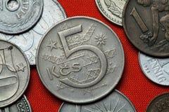 Coins of the Czechoslovak Socialist Republic. Coins of Czechoslovakia. Czechoslovak five koruna coin (1966) coined in the Czechoslovak Socialist Republic stock photo