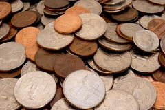 Coins (deep Depth of Field). US Coins Royalty Free Stock Photo