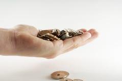coins den danska näven Royaltyfri Fotografi