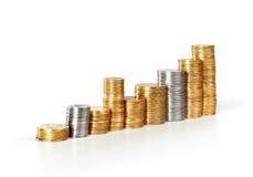 Coins diagram. On white background Stock Photo