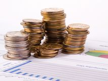 Coins and diagram Royalty Free Stock Photography