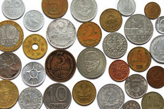 Coins from different countries Royalty Free Stock Photo
