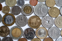 The  coins from different countries Stock Photography