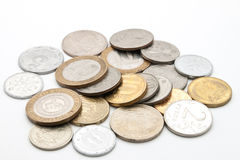 Coins from different countries. Royalty Free Stock Photos