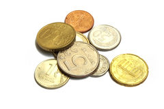Coins of the different countries Royalty Free Stock Photos