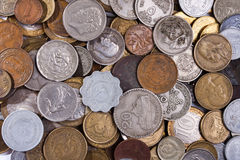 Coins different countries as background Stock Photography