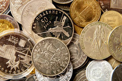 Coins of different countries. coin collection. Background of the collection of the coins of the different countries Royalty Free Stock Image