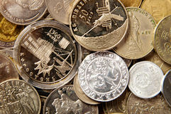 Coins of different countries. coin collection. Background of the collection of the coins of the different countries Royalty Free Stock Photography